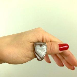 Heart Metal Ring Handmade unisex 10 1/2